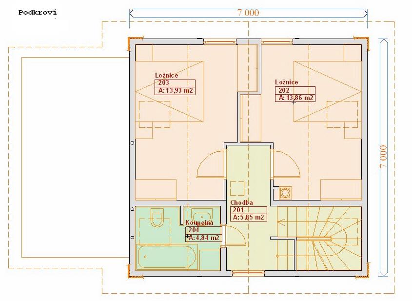 Typové projekty rodinných domů - půdorys 2.NP  79
