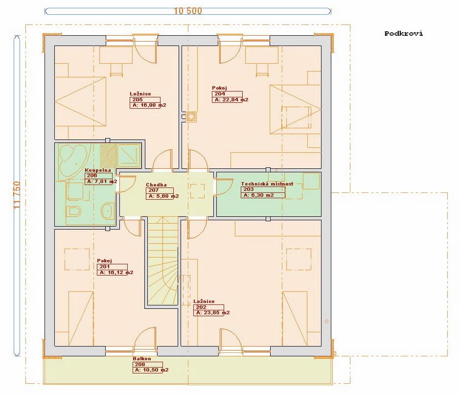 Typové projekty rodinných domů - Prozi 184